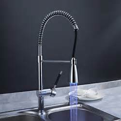 led kitchen faucet solid brass spring kitchen faucet with color changing led