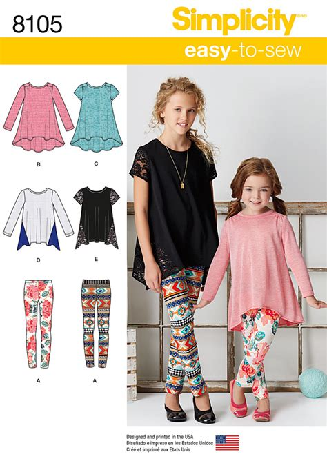 simplicity pattern website simplicity 8105 child s and girls knit tunics and leggings