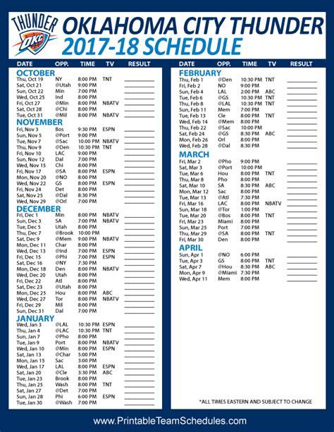 printable team schedule okc thunder schedule oklahoma city thunder autos post