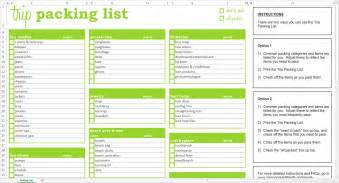 vacation list template trip packing list excel template savvy spreadsheets