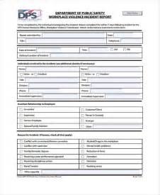 workplace incident report form template incident report form exle