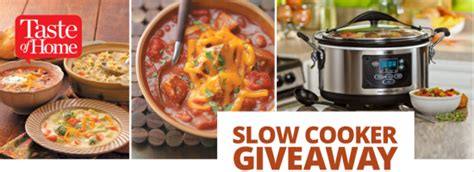 Taste Of Home Sweepstakes - taste of home fall 2013 slow cooker giveaway sweepstakes win a hamilton beach slow