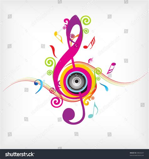 colorful music background fly clefs stock vector 69826297