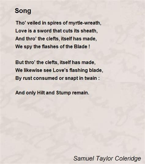 song poem song poem by samuel coleridge poem