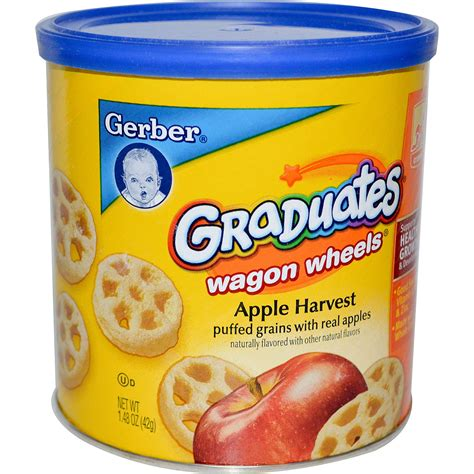 gerber cim gerber graduates finger foods apple harvest wagon wheels 1 48 oz 42 g iherb
