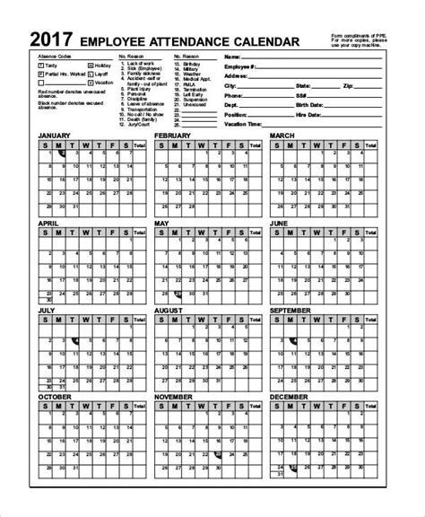 41 Calendar Templates Free Premium Templates Free 2018 Employee Attendance Calendar Templates At Allbusinesstemplates
