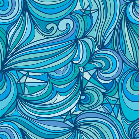 mom5kids sketch 3 waves blue green moon sky abstract line seamless pattern stock vector