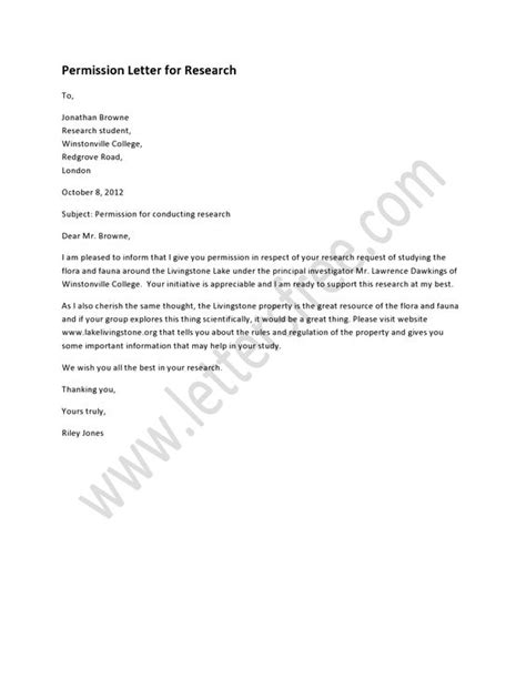 Letter Of Permission To Conduct Research A Permission Letter For Research Is Written In Respect Of A Request Letter For Conducting A