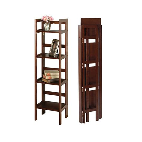 narrow folding bookcase 4 shelves by winsome trading in