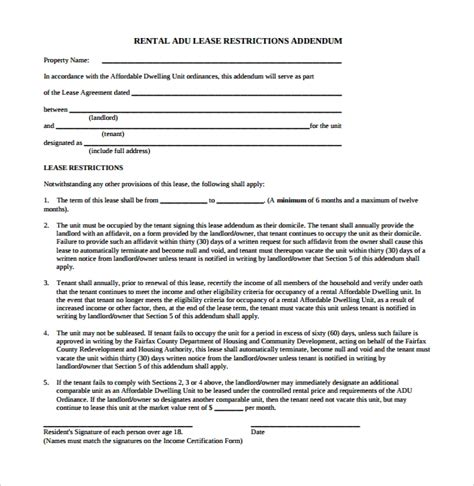 sample lease addendum forms   ms word