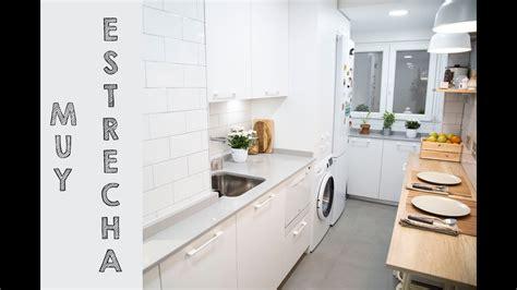 cocina muy pequena  estrecha en blanco ideal  pisos