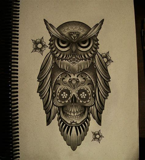 sugar owl tattoo design owl and skull tattoo designs skully love dia de los