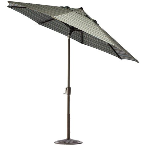 11 Ft Offset Patio Umbrella Hton Bay 11 Ft Led Offset Patio Umbrella In Sunbrella Henna Yjaf052 C The Home Depot