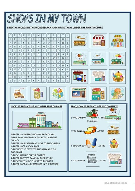 shopping for sheets shops in my town worksheet free esl printable worksheets