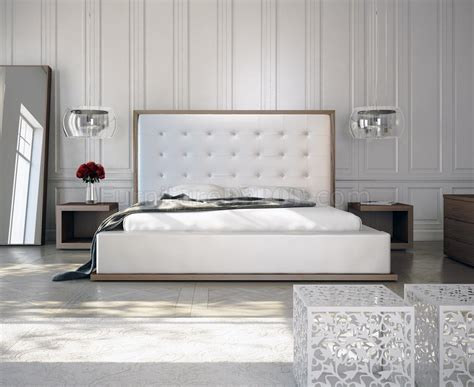 white leather queen headboard white walnut md317 bed by modloft w oversized tufted