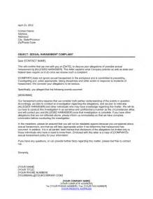 letter of harassment complaint template letter to sexual harassment complainant template