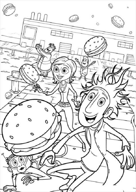 Dibujos para colorear lluvia de hamburguesas