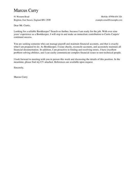 bookkeeper cover letter template cover letter templates