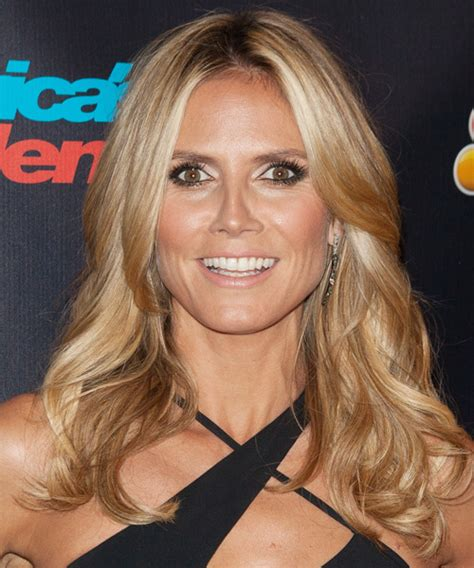 what colour is heidi klum s hair heidi klum long wavy casual hairstyle medium blonde honey