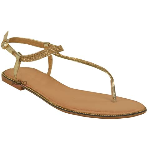 t sandals new womens flats toe post diamante sandals ankle