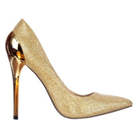 Gold Shoes by Onlineshoe Mid Heel Glitter Court Peep Toe Shoes
