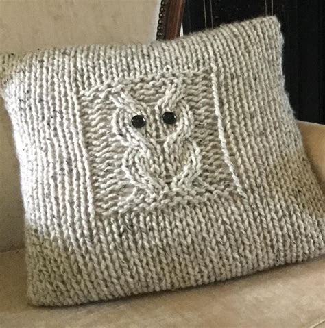 knitted owl cushion big owl cushion knitting pattern by the lonely sea