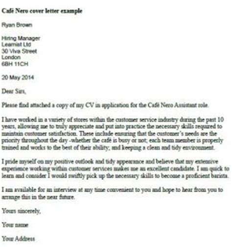 Caffe Nero Cover Letter Example   Learnist.org