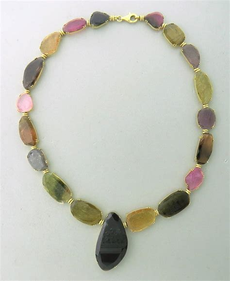 tous multicolor gemstone gold necklace at 1stdibs