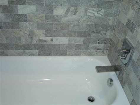 Silver travertine bathroom detroit by maloney tile amp marble inc
