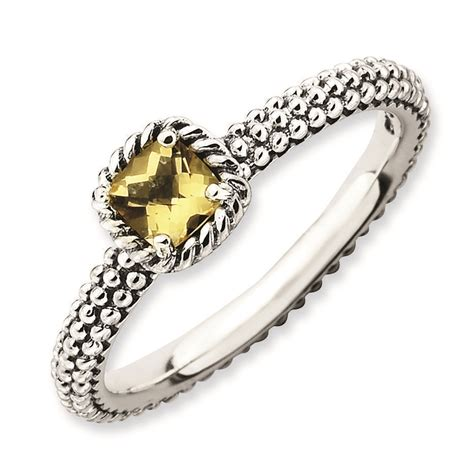 carinagems silver checker cut citrine antiqued ring