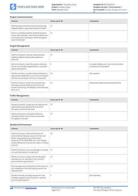Free Contractor Performance Evaluation Template Easily Editable Contractor Evaluation Template
