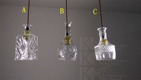 hot sale glass crystal wine bottle l pendant light for