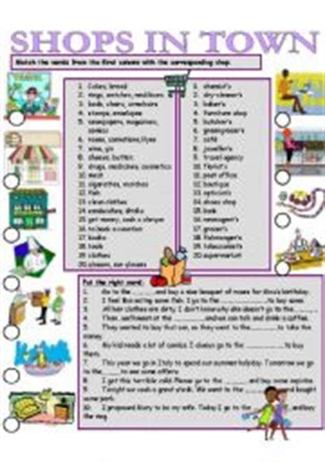 shops in my town worksheet free esl printable worksheets english teaching worksheets shops