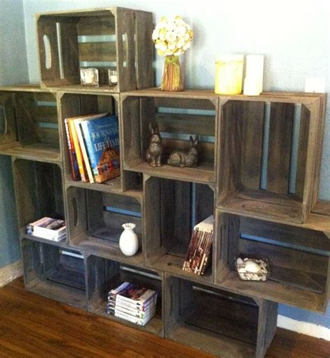 large wooden crate bookshelf with brackets by