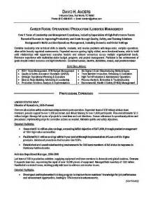 Navy Resume Exles by Logistics Resume Exle Operations Production