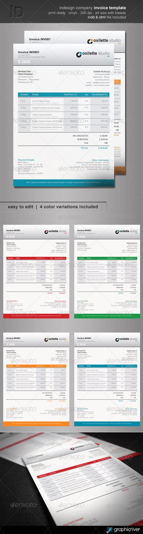 Indesign Company Invoice Template Graphicriver Graphic Design Invoice Template Indesign
