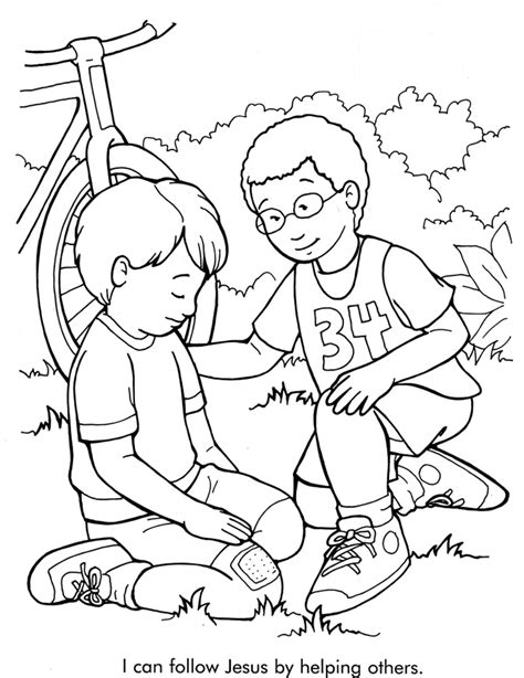 Helping Coloring Page free jesus with sick coloring pages