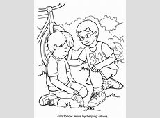 I Can Follow Jesus By Helping Others Coloring Page Kids Pages