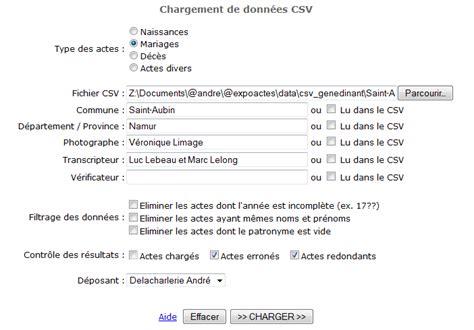 format fichier csv aide charger des actes csv
