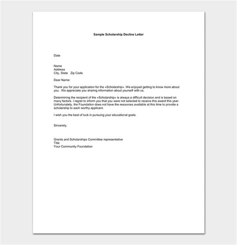 application rejection letter samples examples formats