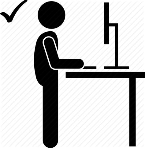 standing working desk computer desk right standing table working icon