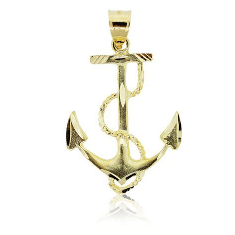 14k yellow gold anchor pendant boca raton