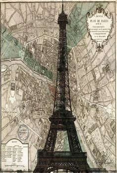 Sale Map A4 Sekat 4 Eiffel Eiffel Tower Wall Print Illustration