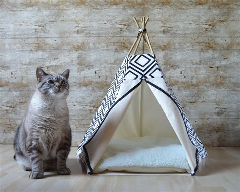 dog teepee bed cat bed cat teepee dog teepee with cushion geometric black