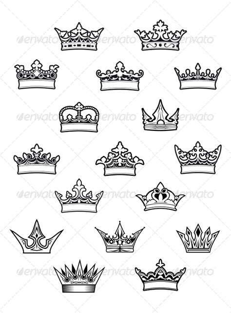 king and queen tattoo flash heraldic king and queen crowns set decorative symbols