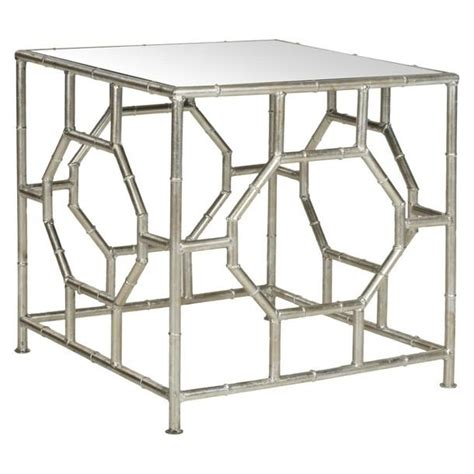 bamboo accent tables rory silver bamboo geometric accent table