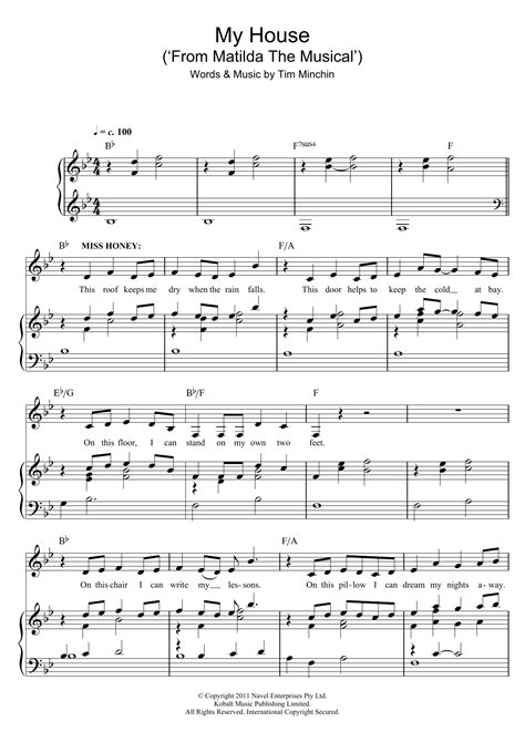 my house matilda lyrics my house sheet music direct