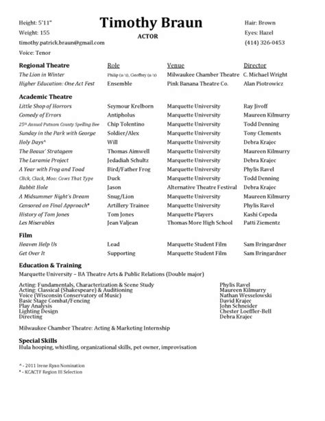 sle resume for actor and singer 28 images opera resume