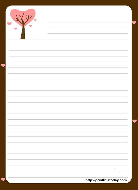 Love Letter Pad Stationery Letter Template With Lines