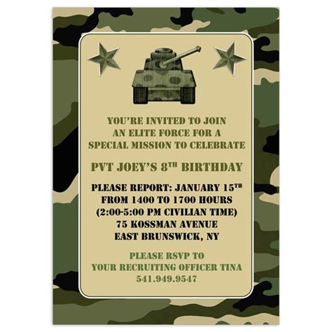 army birthday card template camo birthday invitations cimvitation